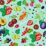 Картина лета безшовная с ягодами сада на голубой предпосылке Стоковое фото RF