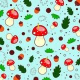 Картина лета леса грибов, листьев, жолудей, кругов, червей E Illustaration вектора иллюстрация вектора