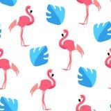 Картина лета с милым фламинго и ладонью выходит на белую предпосылку Орнамент для ткани и оборачивать вектор бесплатная иллюстрация