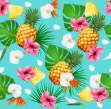 Картина лета тропическая безшовная с плодоовощами и листьями Стоковое Фото