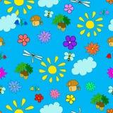 Картина лета ` s детей безшовная с цветками иллюстрация штока