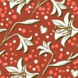 Картина лилии безшовная для иллюстрации руки печатания обоев, вебсайта или ткани нарисованной бесконечной цветков на свете Стоковое Изображение RF