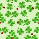 картина листьев клевера 4 безшовная иллюстрация вектора