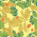 Картина листьев осени дуба. безшовная картина. Стоковое фото RF