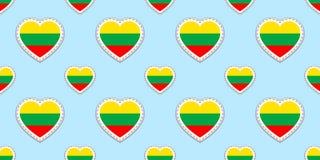 Картина литовского флага безшовная Литва сигнализирует stikers вектор Символы сердец влюбленности Языковые курсы, страницы спорт, бесплатная иллюстрация