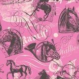 Картина лошадей безшовная Стоковое Изображение RF