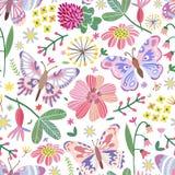 Картина луга лета вектора безшовная Цветки, бабочка иллюстрация штока
