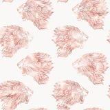 Картина льва безшовная График в розовых цветах золота Стоковые Фотографии RF