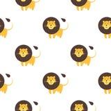 Картина льва шаржа безшовная на белой предпосылке Стоковое Фото