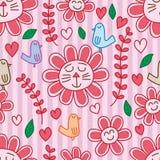 Картина любов птицы цветка кота безшовная иллюстрация вектора