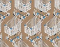 Картина магазинной тележкаи безшовная иллюстрация штока