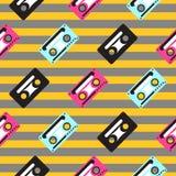 Картина магнитофонной кассеты striped вектором безшовная Стоковые Фото