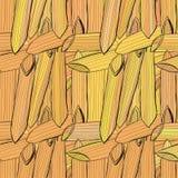 Картина макаронных изделий вектора нарисованная рукой безшовная Стоковые Фото