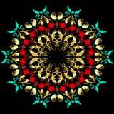 Картина мандалы Пейсли элегантности флористическая Ба штофа стиля барокко иллюстрация вектора