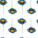 Картина маргаритки акварели безшовная Стоковая Фотография RF