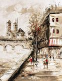 Картина маслом - взгляд улицы Парижа стоковое фото rf