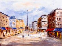 Картина маслом - вид на город Европы стоковая фотография