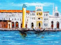 Картина маслом - вид на город Италии стоковые фотографии rf