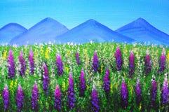 Картина маслом - ландшафт на Новой Зеландии бесплатная иллюстрация