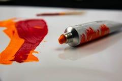 Картина маслом нарисованная рукой река картины маслом ландшафта пущи Часть художественного произведения искусство самомоднейшее С стоковая фотография