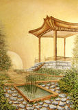 Картина маслом с gazebo в азиатском японском саде Стоковые Фотографии RF