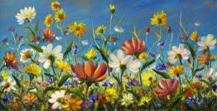 Картина маслом цветков, красивое поле цветет на холсте Современный импрессионизм Художественное произведение Impasto Стоковые Фото