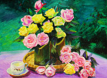 Картина маслом - Rose Стоковые Изображения RF
