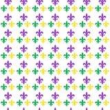 Картина масленицы марди Гра безшовная с fleur-de-lis бесконечная предпосылка, текстура, обои также вектор иллюстрации притяжки co Стоковая Фотография RF