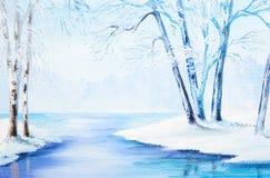 Картина маслом - ландшафт зимы, красочная акварель Стоковое фото RF