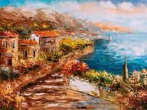 Картина маслом - взгляд гавани, Греция бесплатная иллюстрация
