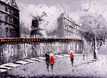 Картина маслом - взгляд улицы Парижа стоковое фото