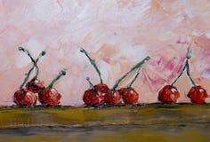 картина маслом жизни все еще Много красные вишни разбросали на таблицу, абстрактную предпосылку Стоковая Фотография RF