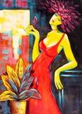 Картина маслом - запальчиво дама стоковое фото rf