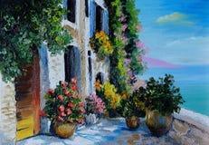 Картина маслом - каменный обваловка, заполненный с цветками около моря иллюстрация вектора