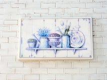 Картина маслом на белой стене. Стоковое Изображение RF