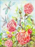 Картина маслом роз тюльпаны цветка повилики состава предпосылки белые Risovannnaya изображения мимо Стоковые Фотографии RF