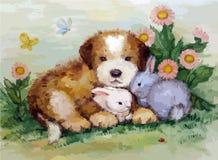 Картина маслом щенка и кроликов Стоковые Изображения RF