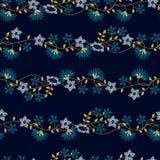 Картина малой тропической флористической вышивки безшовная иллюстрация вектора