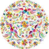 Картина мексиканской вышивки вектора круглая Стоковые Изображения
