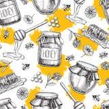 Картина меда вектора безшовная нарисованный предпосылкой сбор винограда руки иллюстрация штока