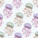 Картина медуз безшовная Стоковые Фотографии RF