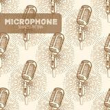 Картина микрофона безшовная Стоковое Изображение