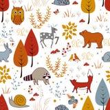 Картина милого вектора безшовная с заводами, птицами, медведем, оленями, енотом, и лисой леса иллюстрация штока