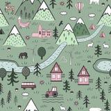 Картина милого вектора руки вычерченного скандинавского безшовная с домами, животными, деревьями, старым замком и горами nordic иллюстрация штока