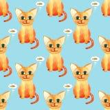 Картина милого кота акварели безшовная на голубом bacground стоковые фото