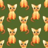 Картина милого кота акварели безшовная на зеленом bacground стоковые фото