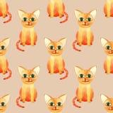 Картина милого кота акварели безшовная на коричневом bacground стоковое изображение