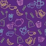 Картина милого чаепития конспекта безшовная бесплатная иллюстрация
