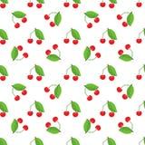 Картина милой вишни безшовная с стилем плоского и сплошного цвета Хороший для ткани, оборачивать, обоев, etc вектор Стоковое фото RF