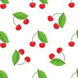 Картина милой вишни безшовная с стилем плоского и сплошного цвета Хороший для ткани, оборачивать, обоев, etc вектор Стоковое Изображение